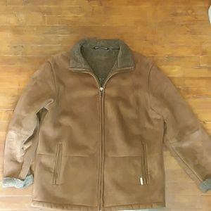 Mens large leather winter coat